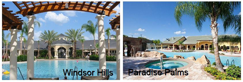 Windsor Hills resort swimming pool side by side with Paradise Palms resort swimming pool
