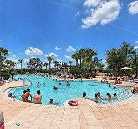 busy resort pool