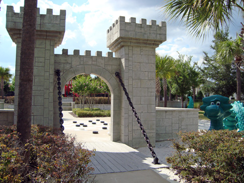 Windsor Hills childrens play area with miniature castle entrance