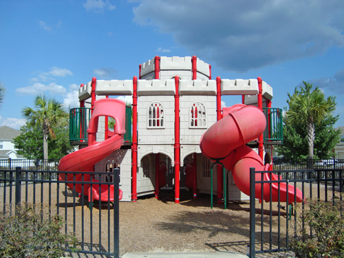 miniature castle with kids slides