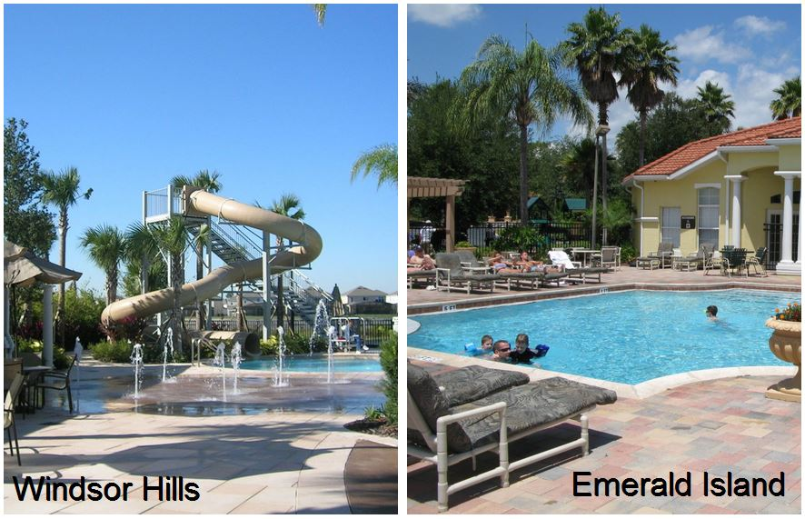 Windsor Hills pool and clubhouse compared with Emerald Island pool and clubhouse
