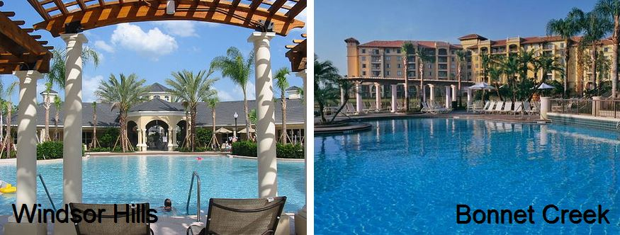 windsor hills pool compared with Bonnet Creek pool and condos overlooking pool