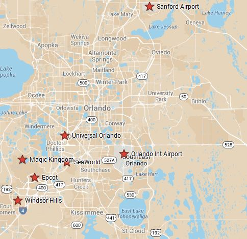 Windsor Hills location in relation to orlando attractions and airports